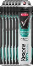 Rexona sensitive Men - 150 ml - deodorant spray - 6 st - Voordeelverpakking