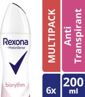 Rexona ultra dry biorythm Woman - 200 ml - deodorant spray - 6 st - Voordeelverpakking