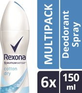 Rexona ultra dry cotton Woman - 150 ml - deodorant spray - 6 st - Voordeelverpakking