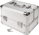 Cosmetica koffer make-up beautycase hardcase zilver 401068