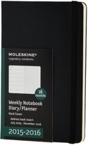 2016 Moleskine 18 month planner - weekly notebook - large - black - hard cover