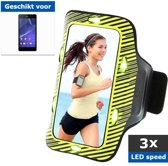 qMust Sport Armband Sony Xperia E4 met led-lampjes (Yellow/Green)
