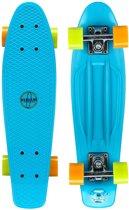 Nijdam Plastic Skateboard 22.5 Inch - Flipgrip-board - Blauw/Fluororanje/Fluorgeel