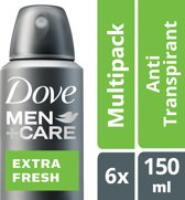 Dove extra fresh Men + Care  - 150 ml - deodorant spray - 6 st - Voordeelverpakking