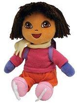 Dora schaatsen pluche beanie knuffel 18cm