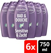 Andrélon sensitive  - 750 ml - douche & bad - 6 st - voordeelverpakking