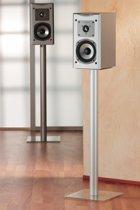 2 Speaker standaards Boxero Maxi helder glas - 2 standaards voor het plaatsen van muziekboxen of Tv boxen, hoogte 71 cm