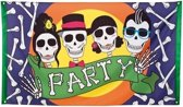 Vlag skull party 90x150cm.