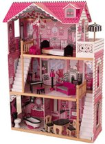 Roze houten poppenhuis Amelia Limited Edition met twee trappen en meubeltjes
