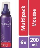 Andrélon spectaculaire slag  - 200 ml - mousse - 6 st - voordeelverpakking