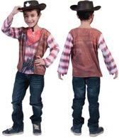 Cowboy shirt met 3D print voor kids 5-6 jaar