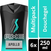 Axe apollo  - 250 ml - shower gel - 6 st - voordeelverpakking