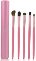5-DELIGE SET MAKE-UP KWASTEN IN HANDIGE KOKER Roze