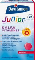 Davitamon Junior 2+ Kauwvitamines - Aardbei - 120 Kauwtabletten - Multivitamine