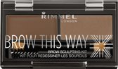 Rimmel London Brow this way Eyebrow kit - 002 Brown - Wenkbrauwpoeder