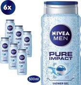 NIVEA MEN Pure Impact - 500 ml - Douchegel - 6 st - Voordeelverpakking