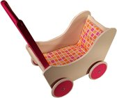 Playwood - Houten Poppenwagen Wit met Fuchsia wielen