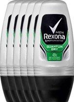 Rexona dry quantum Men - 50 ml - deodorant roller - 6 st - Voordeelverpakking