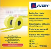 Prijstangetiketten Avery permanent 26x12mm geel 10 rol in doos