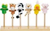 Toys pure Vingerpoppen set baby dieren 6 stuks 7-8cm