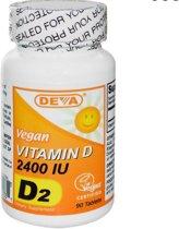Vegetarische Vitamine D2, 2400 IE (90 Tabletten) - Deva