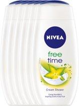 NIVEA Free Time - 250 ml - Douchegel - 6 st - Voordeelverpakking