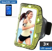 qMust Sport Armband Sony Xperia E4g met led-lampjes (Yellow/Green)