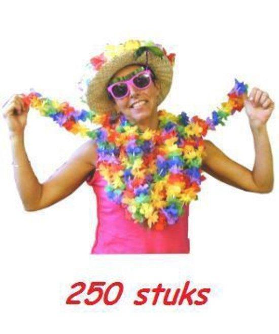 Vrolijk gekleurde Hawaii kransen 250 stuks