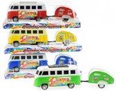 Hippiebus met caravan  Groen