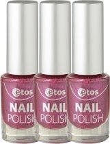 Etos Nailpolish 066 - Pink - Matt Velvet - Roze - 3 stuks - Nagellak