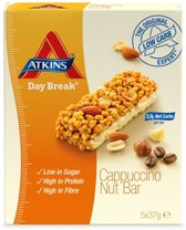 Atkins Day Break Cappuccino Nut Reep - 5 x 37 gr - Maaltijdreep