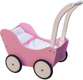 Poppenwagen met dekje - roze