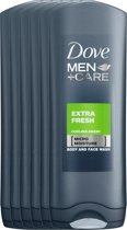Dove Men+Care Extra Fresh - 250 ml - Douche Gel - 6 stuks - Voordeelverpakking