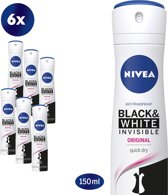 NIVEA Invisible Black & White Clear - 150 ml - Deodorant - 6 st - Voordeelverpakking