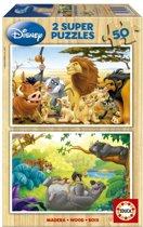Educa HOUT: Dieren vrienden - 2 x 50 stukjes