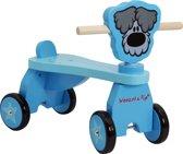 Woezel & Pip Houten Vierwieler - Woezel blauw