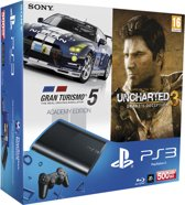 Sony PlayStation 3 Console 500GB Super Slim + 1 Wireless Dualshock 3 Controller + Gran Turismo 5 - Academy Editon + Uncharted 3: Drake's Deception - Game Of The Year Edition - Zwart PS3 Bundel