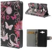 Wallet Stand Case Samsung Galaxy Core 2 Butterflies