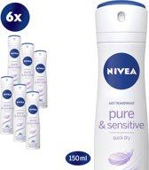 NIVEA Pure & Sensitive - 150 ml - Deodorant - 6 st - Voordeelverpakking