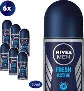 NIVEA MEN Fresh Active - 50 ml - Deodorant - 6 st - Voordeelverpakking