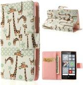 Nokia Lumia 520 Wallet Stand Case Giraffe
