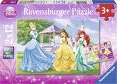 Disney Princess: Prinsessen in het kasteel en de tuin - Kinderpuzzel - 12 Stukjes