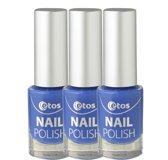 Etos Nailpolish 029 - Marine Blue - Blauw - 3 stuks - Nagellak
