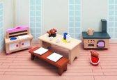 Goki Houten poppenhuis kasteel keuken 20-delig
