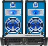Complete DJ-set; SkyTec LED10 800W PA Versterker met 2 Disco Luidsprekers MKII