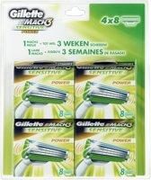 Gillette M3Power Sensitive Scheermesjes - 32 st - Voordeelverpakking