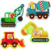 Petit Collage Mijn Eerste Puzzel Werfvoertuigen 3-6 Stukjes