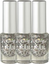 Etos Nailpolish 067 - Sparkle Me - Glitter - Zilver - 3 stuks - Nagellak
