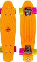 Nijdam Plastic Skateboard 22.5 Inch - Flipgrip-board - Fluororanje/Fuchsia/Fluorgeel