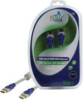 HQ - 1.4 High Speed HDMI kabel  - 7.5 m - Grijs/Blauw